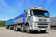 Grey Gravel Truck with Trailer royalty free stock images