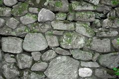 Grey and Green Rock Wall Stock Image