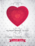 Grey grunge background with  red valentine heart a Stock Photography