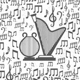 Music background with harps and notes. Grey grunge music background with harps and notes. Vector illustration Stock Photo