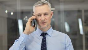 Grey Hair Businessman Negotiating con il cliente durante la conversazione del telefono stock footage