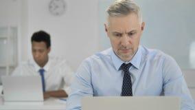 Grey Hair Businessman Working op Laptop in Bureau stock videobeelden