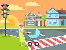 Grey Hair Lady con el cochecito de niño que va en vector del paso de peatones Imagen de archivo libre de regalías