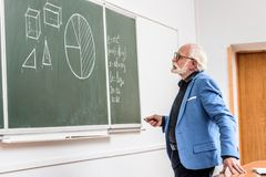 Grey hair professor holding piece of chalk and looking. At blackboard stock photo
