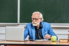 Grey hair professor using laptop at table. In lecture hall royalty free stock photos