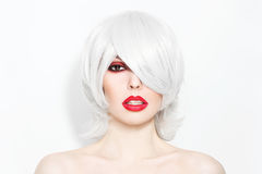 Grey hair and red lipstick Royalty Free Stock Images