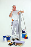 Grey-haired decorator Stock Photos