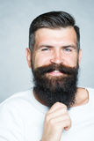 Grey-haired man pulling beard Royalty Free Stock Images