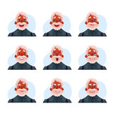 Grey haired old african man expression avatars Stock Photography