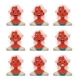 Grey haired old lady face expression avatars Stock Images