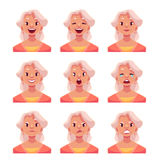 Grey haired old lady face expression avatars. Grey haired old lady face expression, set of cartoon vector illustrations isolated on white background. Old woman Royalty Free Stock Images