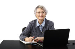 Grey haired old lady in telework. Modern grey haired old lady talking in online lesson Royalty Free Stock Photography