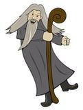 Grey Haired Wizard med träpersonaltecknade filmen Royaltyfri Fotografi