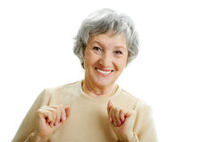 Grey-haired woman Stock Image