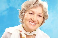 Grey-haired woman Royalty Free Stock Images