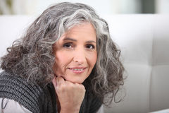 Grey-haired woman Royalty Free Stock Image