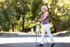 Grey-haired woman walking with tracking sticks in the park stock images