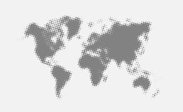 Grey halftone political world map Illustration. Royalty Free Stock Photos