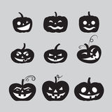 Grey halloween pumpkin icons set Royalty Free Stock Photography