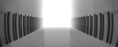 Grey hallway with many doors, leading to the light in the end. 3D rendering. vector illustration