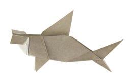 Grey hammerhead shark of origami. Royalty Free Stock Photo