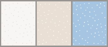Hand Drawn Star Vector Pattern Set. Beige and Blue Backgrounds with White Stars. Grey hand drawn stars on a off white background. White hand drawn stars on a stock illustration