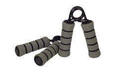 Gray hand grips. Grey hand grips for grip exercise Stock Image