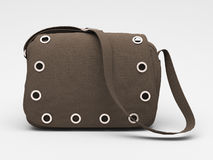 Grey handbag with studs Stock Photos