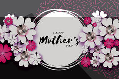 Free Grey Happy Mothers Day. Paper Cut Floral Greeting Card . Brilliant Stones. Circle Frame. Stock Image - 89093771