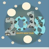 Grey 2018 happy new year background . illustration. Decoration card Royalty Free Stock Photo