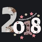 Grey 2018 happy new year background . illustration. Decoration card Royalty Free Stock Photography