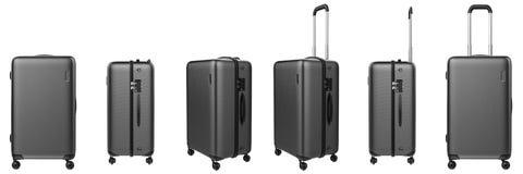 Grey hard case luggage isolated on white Stock Photo