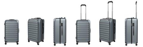 Grey hard case luggage isolated on white Royalty Free Stock Photos