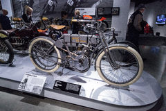 Grey 1908 Harley-Davidson Model 4 motorcycle. Los Angeles, CA, USA — March 4, 2017: Grey 1908 Harley-Davidson Model 4 motorcycle from the collection of the Royalty Free Stock Photography