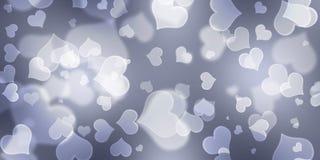 Grey Heart Background, Herz Bokeh-Hintergrund, Valentinsgruß-Tageskonzept lizenzfreies stockbild