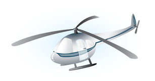 Grey helicopter. Suspended in the air Stock Photo