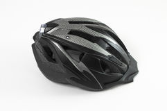 Grey helmet. Bicycle helmet - on a white background Royalty Free Stock Photography