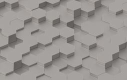 Grey Hexagon Background Texture. 3d render. Grey Hexagon Metal Background Texture. 3d illustration Stock Image