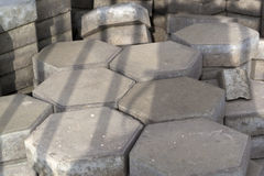 Grey hexagonal cement tiles Stock Photo