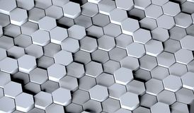 Grey Hexagons Background. 3D Rendering Of Grey Hexagons Background Royalty Free Stock Image