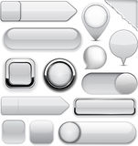 Grey high-detailed modern buttons. Royalty Free Stock Photography