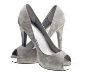 Grey high heels female boots isolated on white royalty free stock image