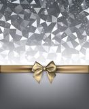 Grey holiday background with gold bow. Silver shining festive background with golden satin bow. Vector illustration Stock Image