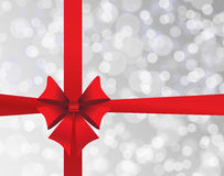Grey holiday's background with red bow Stock Photos