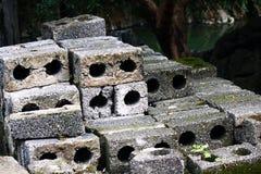 Grey Hollow Bricks med svampen Arkivfoto