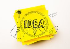 Grey idea doodle against yellow sticky note Royalty Free Stock Photos