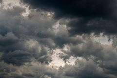Grey incoming storm clouds dark closeup backdrop. Captured with normal lens royalty free stock photos