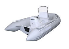 Grey inflatable boat Stock Photo