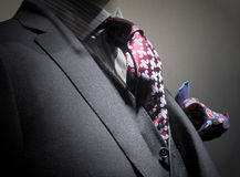 Grey jacket, vest, tie and handkerchief. Close-up of a grey jacket with vest, dark red patterned tie and dark blue handkerchief Stock Photo