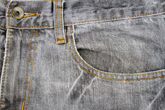 Grey jeans fabric with pocket Stock Photography